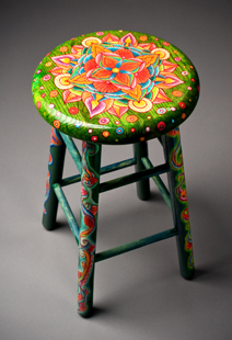 Green Floral Stool